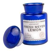 Paddywax Blue Apothecary Glass Scented Candle, Fresh Meyer Lemon