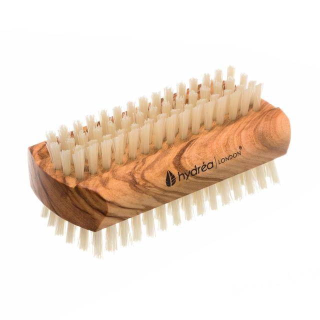 Hydrea London Olive Wood Pure Bristle Nail Brush, Hard Strength, Large