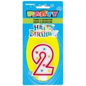 Numeral 2 Glitter Birthday Candle & Happy Birthday Decor