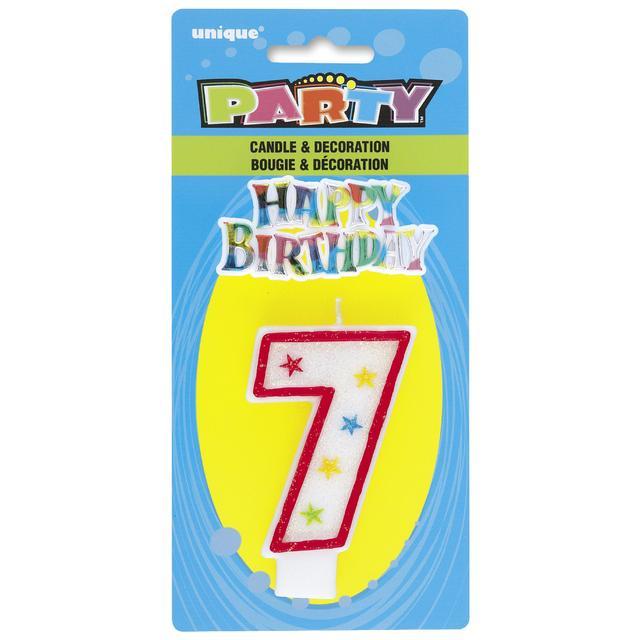 Numeral 7 Glitter Birthday Candle Happy Decor From Ocado