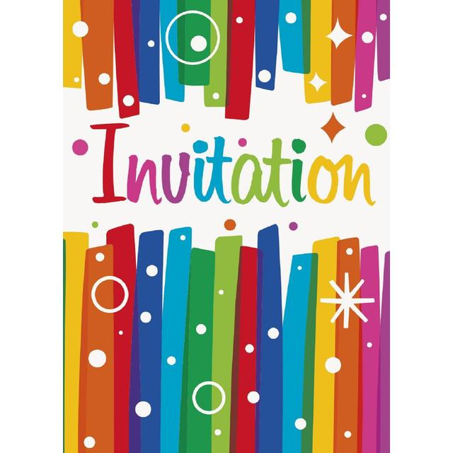 Rainbow Birthday Invitations 8 per pack from Ocado – Rainbow Birthday Invitation