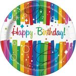 "Rainbow Ribbon Birthday 9"" Plate"