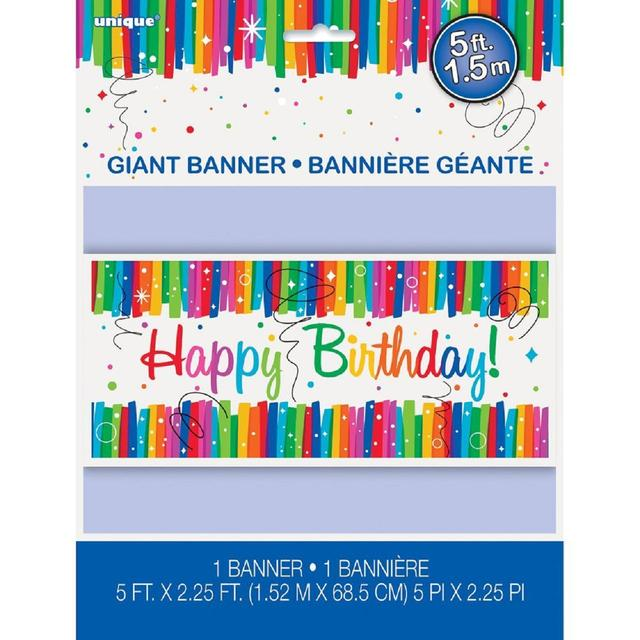 rainbow happy birthday banner from ocado