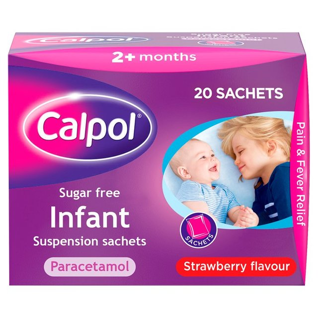 Calpol Infant Sugar Free Paracetamol Strawberry Sachets, 2+mths