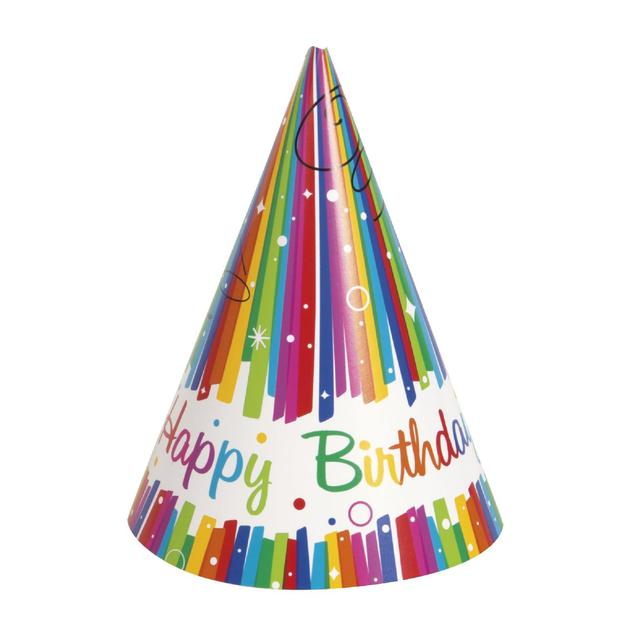 Rainbow Birthday Party Hat 8 Per Pack