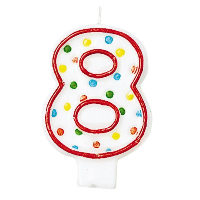 Polka Dot Birthday Candle Number 8