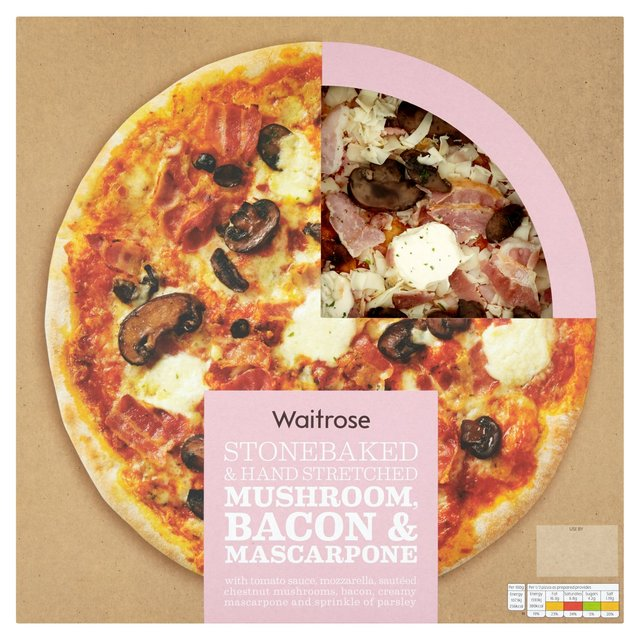 Waitrose Italian Style Bacon, Mushroom & Mascarpone Pizza