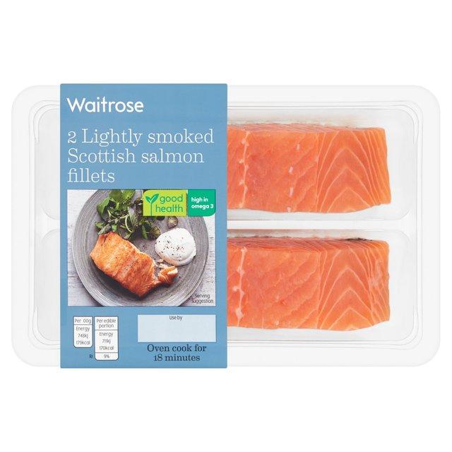 Waitrose 2 Lightly Smoked Salmon Fillets 260g From Ocado