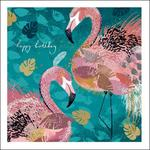 Flamingos Happy Birthday Card