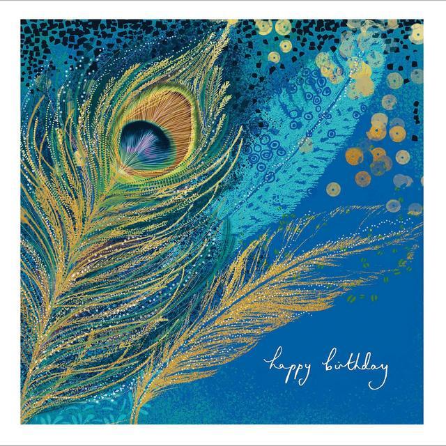 peacock feathers happy birthday card from ocado