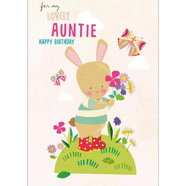 Auntie Birthday Card Bunny With Posy From Ocado