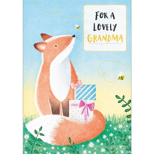 Grandma Birthday Card Fox With Present From Ocado