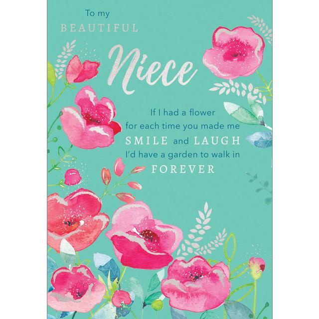 Niece Happy Birthday Card Pink Poppies From Ocado