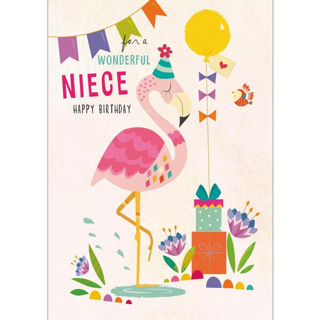 Niece Birthday Card Flamingo