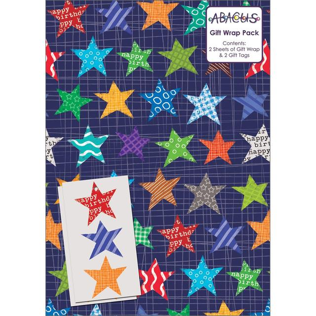 Star Birthday Gift Wrap Sheets 2 Per Pack From Ocado