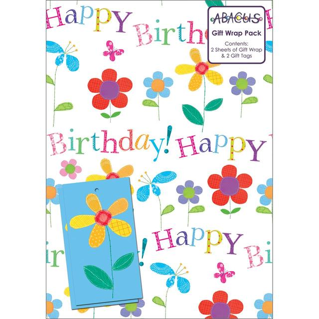 Floral Birthday Gift Wrap Sheets 2 Per Pack From Ocado