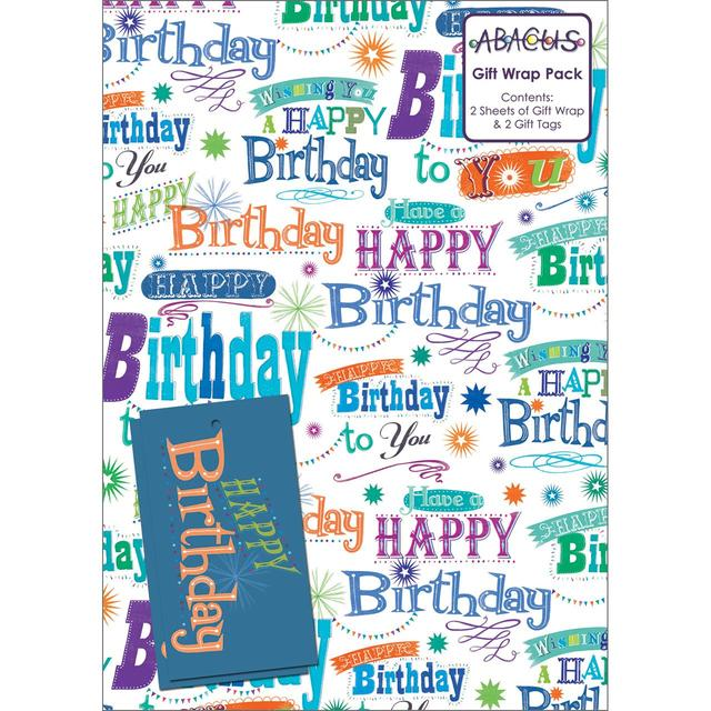 Happy Birthday Greetings Gift Wrap Sheets