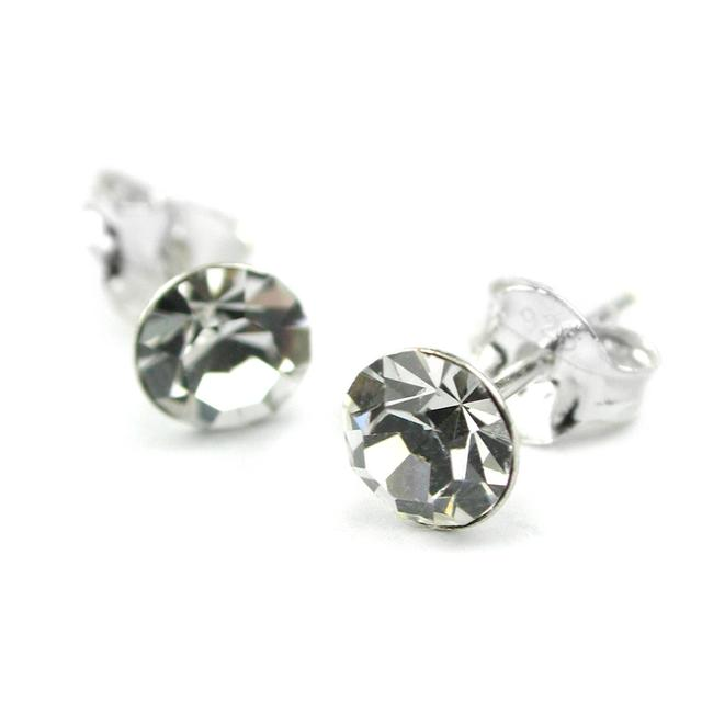 Sterling Silver Clear Crystal Ear Studs Earrings