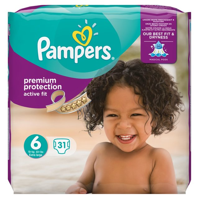pampers active fit premium protection size 6 essential pack 31 per pack from ocado. Black Bedroom Furniture Sets. Home Design Ideas