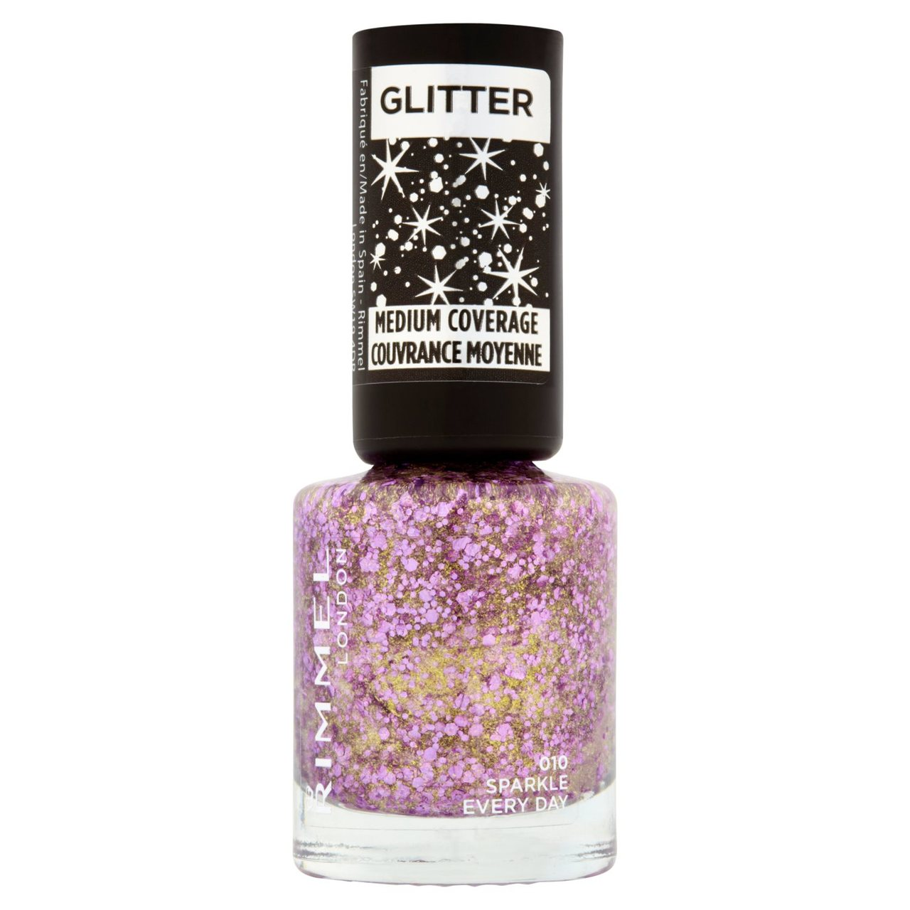 An image of Rimmel Glitter Medium Coverage Top Coat, Sparkle Every Day, 8ml
