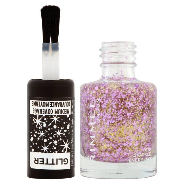 Rimmel Glitter Medium Coverage Top Coat, Sparkle Every Day, 8ml 8ml ...