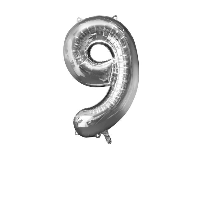 Silver Number 9 Balloon