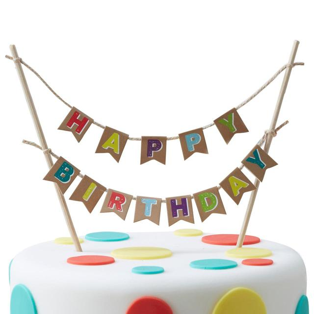 Ginger Ray Happy Birthday Cake Topper Bunting