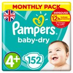 Pampers Baby Dry Nappies Size 4+ Monthly Saving Pack