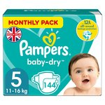 Pampers Baby Dry Nappies Size 5 Monthly Saving Pack