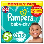 Pampers Baby Dry Nappies Size 5+ Monthly Saving Pack