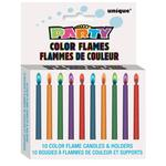 Colour Flame Birthday Candles With Holders