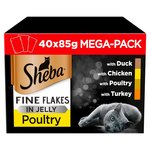 Sheba Wet Cat Food Pouches, Fine Flakes in Jelly, Poultry Collection