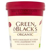 Green & Black's Organic White Chocolate & Raspberry Swirl Ice Cream