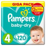 Pampers Baby-Dry Size 4, 120 Nappies 120 per pack