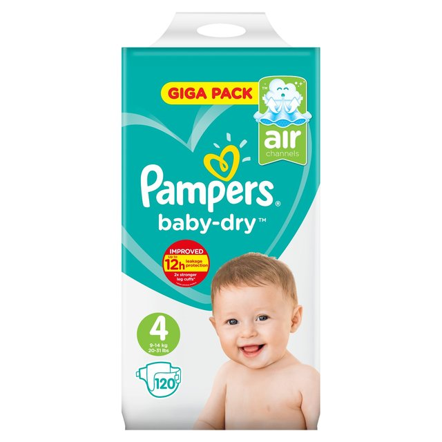 Pampers Baby Dry Nappies Size 4 Giga Pack 120 Per Pack