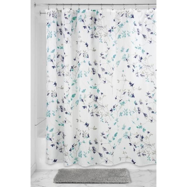InterDesign Twiggy Floral Shower Curtain Teal Amp Navy From