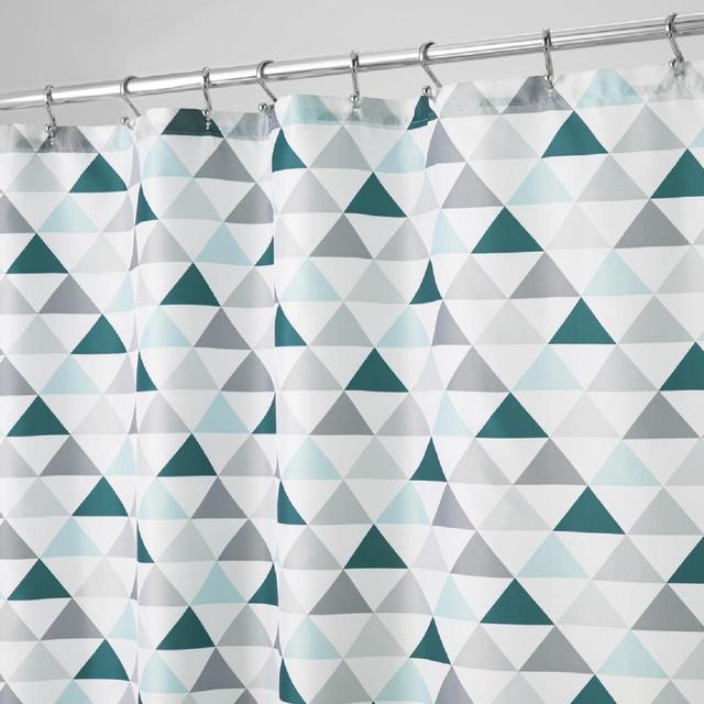 InterDesign Triangles Shower Curtain Deep Teal Mint