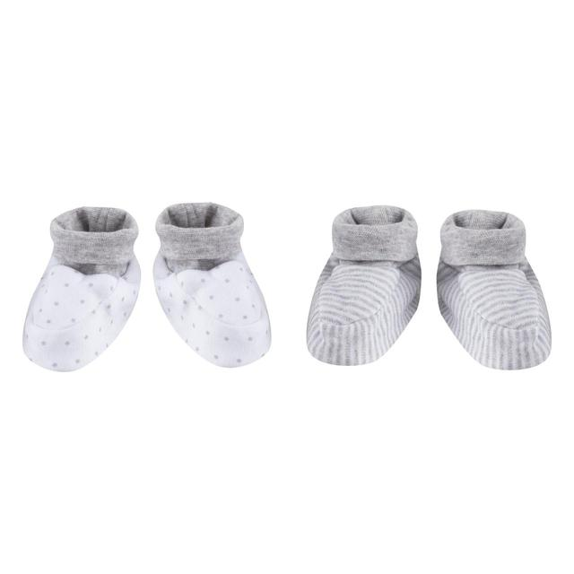 Waitrose Booties Multipack, Grey Stars and Stripes, 0-3 Months