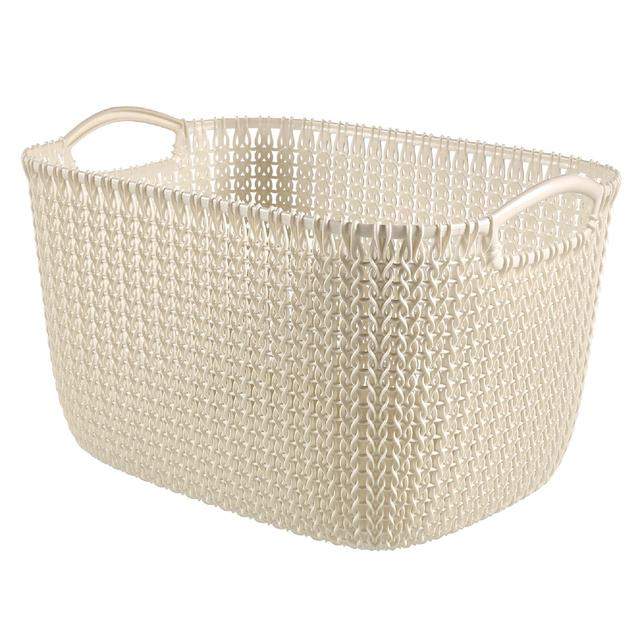 Curver Sand Knit Storage Baskets: Curver Rectangular Large Basket, White 19L From Ocado