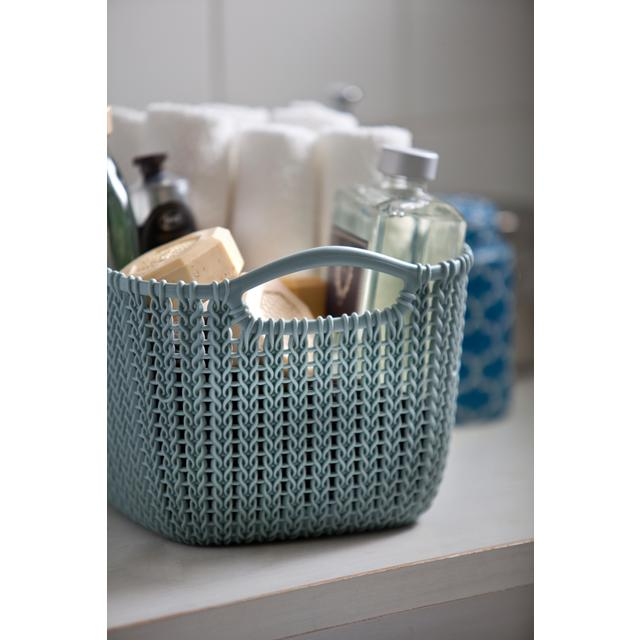 Curver Sand Knit Storage Baskets: Curver Rectangular Small Basket, Misty Blue 8L From Ocado