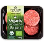 Pure Irish Organic 4 Beef Quarter Pounder Burgers