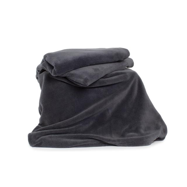 Deyongs Snuggle Touch Fleece Throw, Charcoal