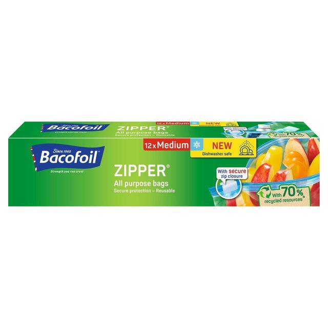 ba8e1fb02db3 Bacofoil Medium Zipper Bags 12 per pack from Ocado