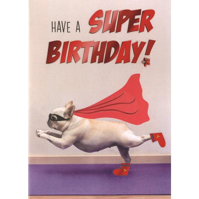 Hand Finished Super Dog Birthday Card from Ocado – Dog Birthday Card
