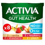 Activia No Added Sugar 0% Fat Raspberry, Peach, Strawberry and Vanilla