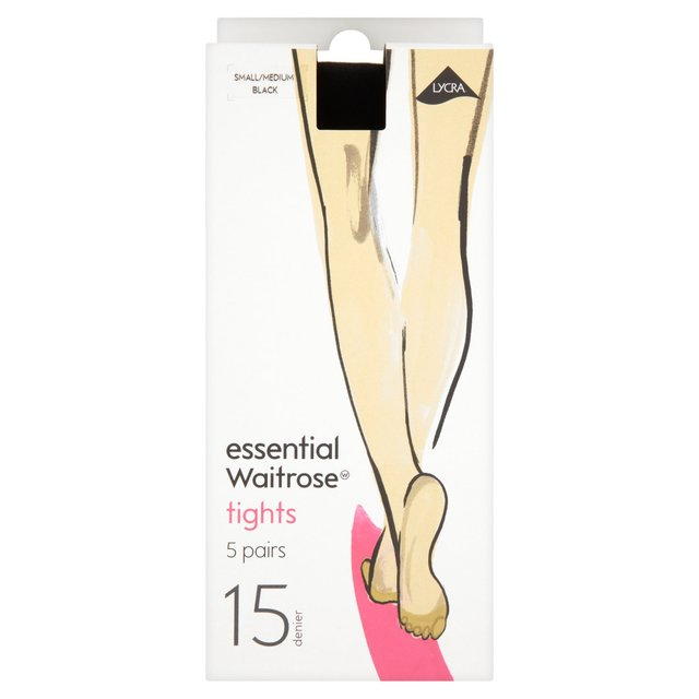essential Waitrose 15 Denier Tights, Black, 5 pairs