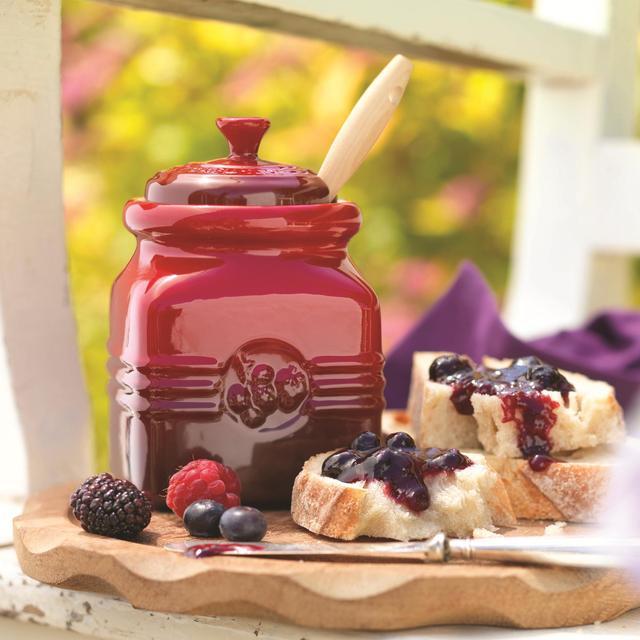 Le Creuset Stoneware Berry Jam Jar & Spreader 0.45L, Cerise from Ocado