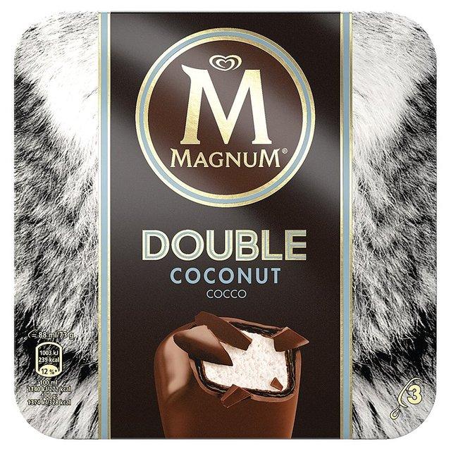 magnum double coconut ice cream 3 x 88ml from ocado