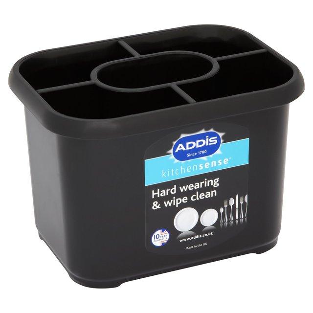 Addis Plastic Cutlery Caddy, Black | Ocado