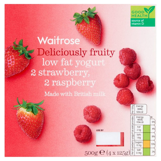 Deliciously Fruity Yogurts Red (2 x Raspberry 2 x Strawberry) Waitrose